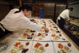 Preparation of appetisers at the 2004 Extravaganza
